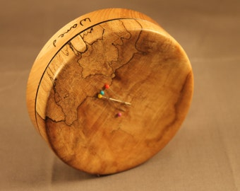 Stabilized Spalted Maple and Hickory Magnetic Pincushion or Paperclip Holder