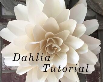 Dahlia Paper Flower Tutorial, Template, & Video Instructions, DIY Instructions Wedding Paper Flower Backdrop, Photo Backdrop, Nursery Decor
