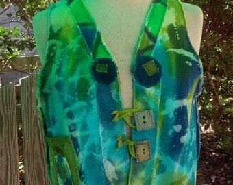 Splashy Blues Short Vest Denim Redoo upcycled denim hand dyed Size S/M