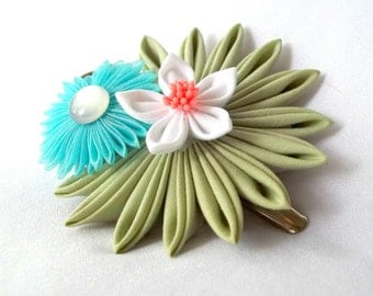 Kanzashi Hair Flowers Large Hair Clip Green Blue White Coral Folded Fabric