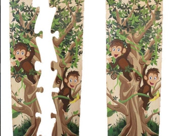 Monkeying Around Growth Chart - Hand painted, wooden, twins, custom
