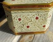 Bristol Ware Tin Box Hearts and Swirls Gold and Red Tin Box Hinged Lid Hexagon Shape Vintage Tin Box