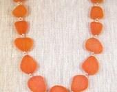 California Orange, Cultured Sea Glass, Nugget Necklace