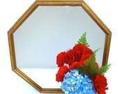 Gold Faux Bamboo Mirror, Hollywood Regency Chinese Chippendale, Octagonal Wood Frame, Tropical Palm Beach