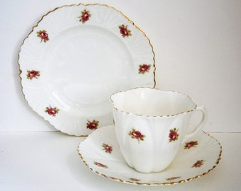 Art Deco vintage china tea set, cup, saucer and side plate, Meir China by Barker Brothers