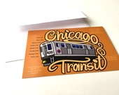 Chicago Postcard, Chicago Transit Authority, Chicago L Train, Elevated Train Postcard, Chicago Illinois Postcard, Recycled Paper Postcard