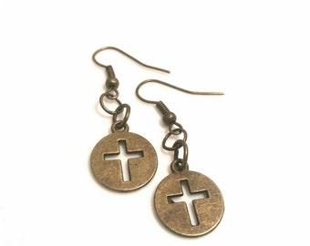 Cross Earrings Christian Jewelry Religious Gifts Brass Earrings Confirmation Teen Tween Women Trending Jewelry Sale