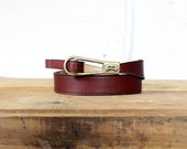Etienne Aigner Belt • Oxblood Leather Belt with Brass Buckle • Skinny Belt • 70s Belt • Burgundy Belt • Thin Belt • Red Leather Belt | BT243