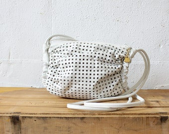 White Leather Bag • Perforated Crossbody Purse • Brio Purse • Leather Crossbody Bag • 80s Purse • White Purse • Leather Bag  | B691