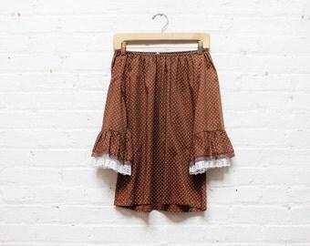 60s Polka Dot Blouse S/M  • Brown Scoop Neck Shirt • 60s Lace Trim Peasant Blouse  | T270