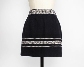 Mexican Mini Skirt S • Mini Folk Skirt • High Waisted Mini Skirt • 60s Mini Skirt • Black and White Skirt • Lanza Mex Skirt  | SK459