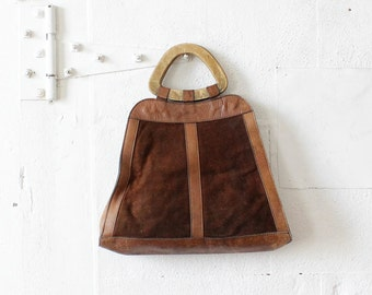 60s Wood Handle Suede Tote • Brown Distressed Leather Bag • Boho Top Handle Tote Bag  | B510