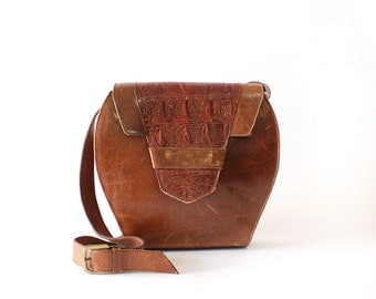 Brown Leather Crossbody Bag • Large Crossbody Bag • Crocodile Bag Made in Portugal • 90s Boxy Bag • Brown Leather Purse | B528