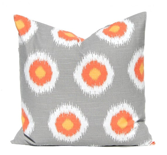 Throw Pillow Covers - Gray and Orange Dots - Fall Decor - Orange Pillow Covers - Thanksgiving Decor - Fall Pillow Covers - Autumn Decoration