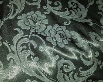 Fabric Green Satiny with Floral Print 20 Yards