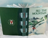 Ski the Mountain Winter Sketch Journal from Vintage Hardcover Discarded Book