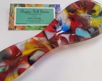 Fused Glass Spoon Rest -  Reds 3