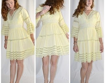 SALE Thru July Vintage 1960s Soft Yellow Cotton Pin Tuck Daisy Trim Inset Lace Mexican Mini Dress 38 Inch Bust