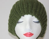 "Knitted ""Dark Green"" Beanie, Slouchy Head Accessory, Boho-chic***FREE SHIPPING (USA address only)"