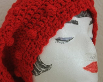 "Knitted ""Warm Red"" Beanie,  Slouchy Head Accessory,  Boho-chic ***FREE SHIPPING (USA address only)  ***"