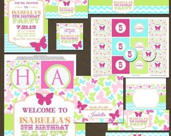 SALE Butterflies Girls Birthday Party Package, Printable, DIY
