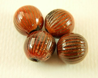 Rust Red Torch Fired Enameled Beads Set