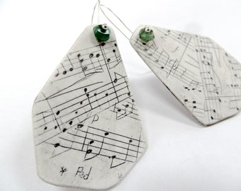 Music Polygon Earrings - OOAK hand carved clay and emerald