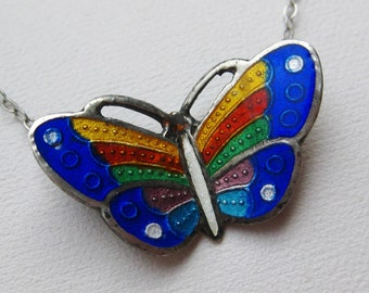 Vintage Sterling Silver Guilloche Enamel Butterfly Pendant Chain Necklace