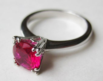 Vintage Ring Jeweled Art Deco Sterling Silver 1.25ct Round Red Ruby Ring size 5 1/2
