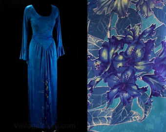 Size 2 Designer Dress - Vivid Blue Jersey & Hibicus Floral Print - Fantasy Style - Leonard Sunshine Paris - Flared Wrists - Bust 33 - 17794