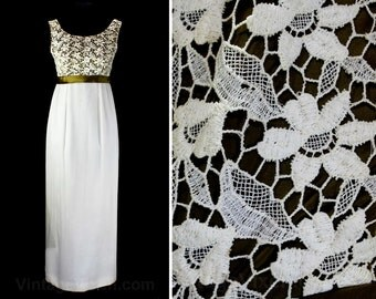 Size 6 Evening Dress - 1960s Empire Waist Formal Gown - Elegant 60s White Lace Chiffon & Brown Satin Evening Gown - Bust 33.5 - 46763