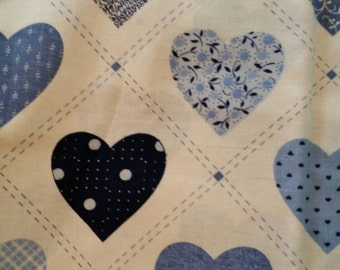 Blue Heart Quilting Cotton Fabric 2 2/3 Yards X0593