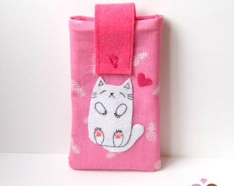 Sleeping cat smartphone pouch, iphone case, android phone sleeve green Mobile phone pouch pink pineapple