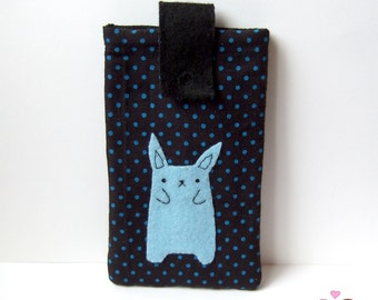 Light blue bunny smartphone pouch, iphone case, android phone sleeve rabbit blue polka dots Mobile phone pouch