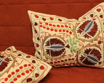 Floral silk embroidered suzani pillow. Accent pillow