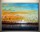 waterside,sunset,flying birds - original modern painting, 18x24inch, ready to hang