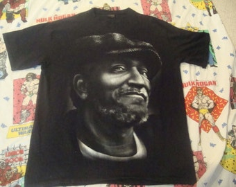 Vintage 90's Sanford and Son Redd Foxx TV show junk man all over print T Shirt Big 2XL