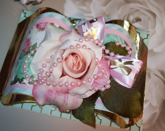 All Occasion 3D Embellished Silk Rose Greeting Card - She believed she could so she did.