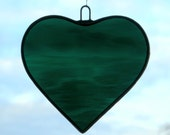 Stained Glass hanging ornament (Love Heart) dark teal green rippling water glass