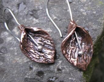 Copper metal clay bud earrings