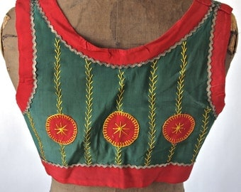 Czech Antique Moravian Green and Red Folk Costume Cropped Bolero Vest Celtic Buttons