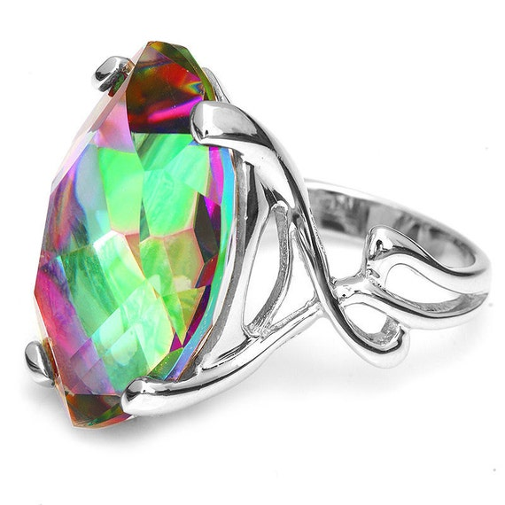 GENUINE 31ct Marquise Fire Rainbow Topaz gemstone, Rhodium,SOLID Sterling Silver Ring Size 8 1/2