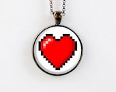 Valentine's Day Necklace - 8 Bit Heart Necklace - Pendant Jewelry - Red Heart Necklace