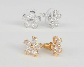 Rose Gold Tone, Silver Tone, Cubic Zirconia Crystal Earrings, Small Flowers, Melinda Earrings - Will Ship in 1 Business Day