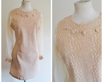 1960s Cream & gold sheer sleeve party dress / 60s mod evening mini dress - M L