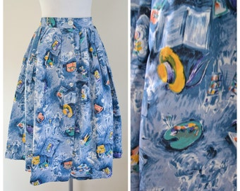 1950s Blue cotton novelty artists palette print skirt / 50s hat Paris perfume - M