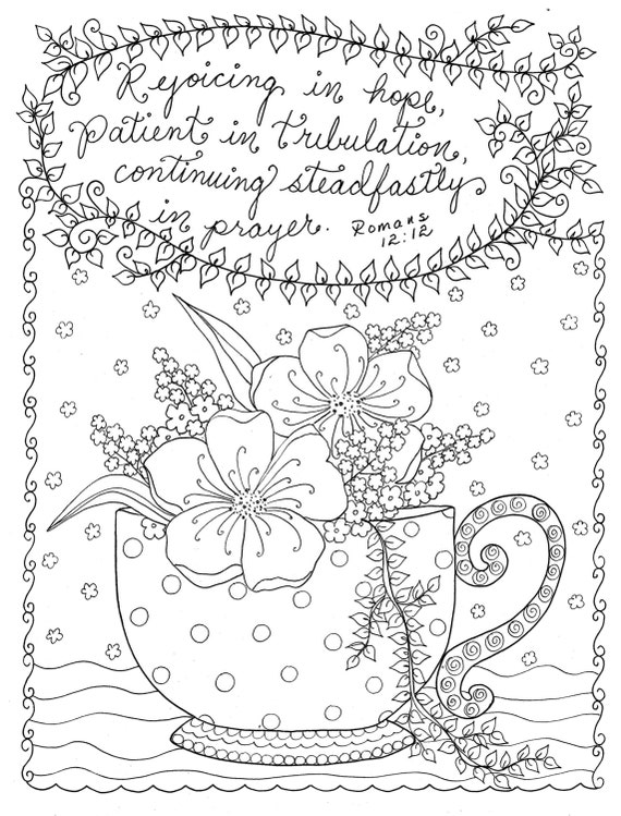 Digital coloring page christian coloring scripture instant Religious coloring books for adults
