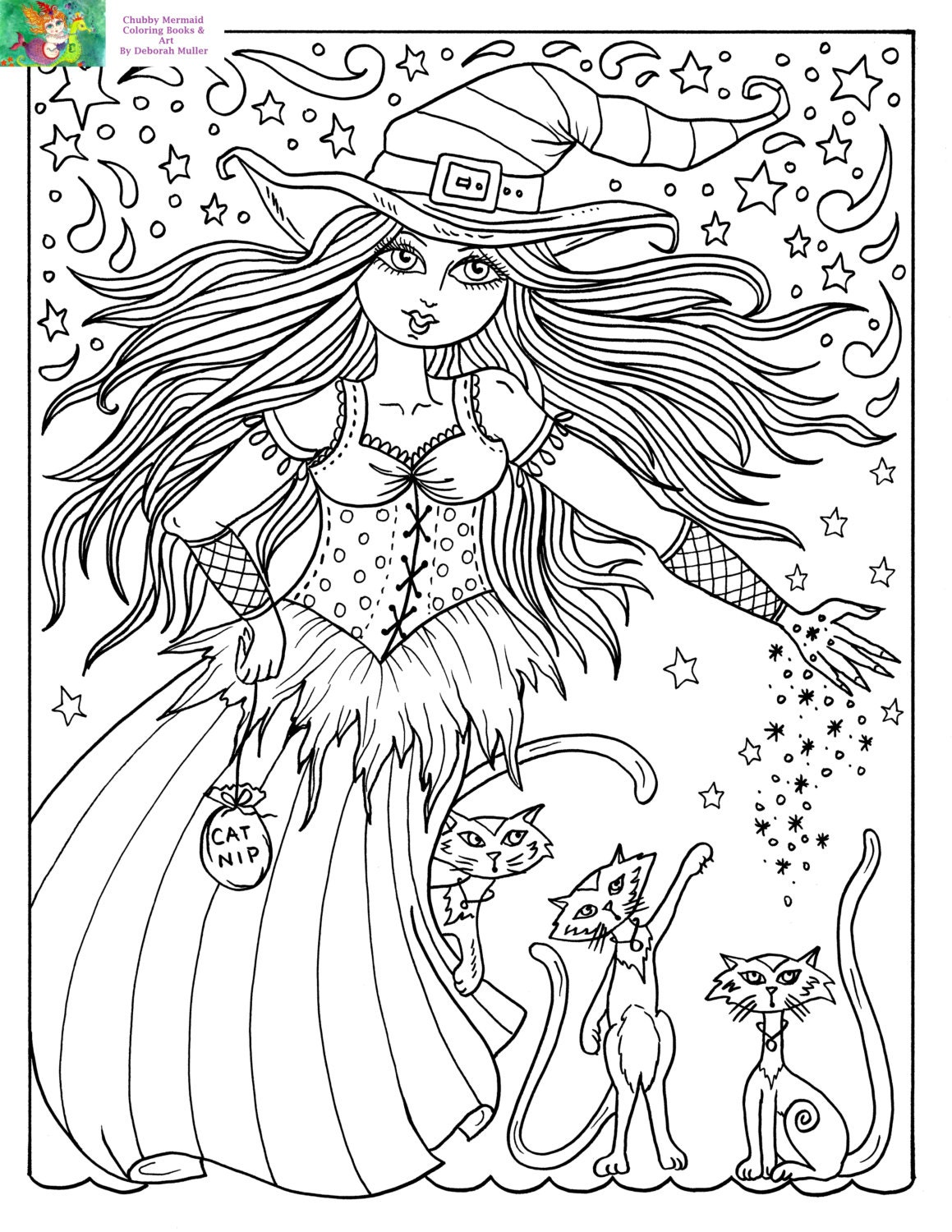 Downloadable Coloring Page Witch and Cats halloween Fun