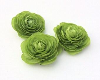 3 GREEN Artificial Ranunculus Flowers - SMALLER Size - Artificial Flowers, Silk Flowers, Hair Accessories, Flower Crown, DIY Wedding, Hat