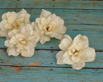 Silk Flowers - Four Delphinium Blossoms in Cream with Taupe Accents - 3 Inch Size - Artificial Flowers